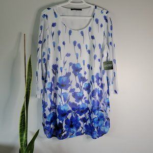 Kasper Blue and White Floral Tunic Top